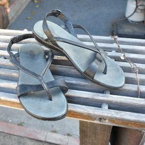WOMEN'S KEEN THONG SANDALS LEATHER ANKLE STRAP SZ